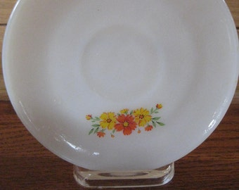 Vintage Fire King Milk Glass, Anchor Hocking Saucer with Orange and Yellow Flowers