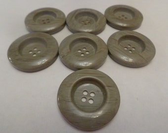 7 Large Vintage Grey Buttons Large Buttons Grey Vintage Buttons Big Buttons Grey Buttons