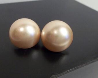 Vintage Pink Earrings Clip Ons