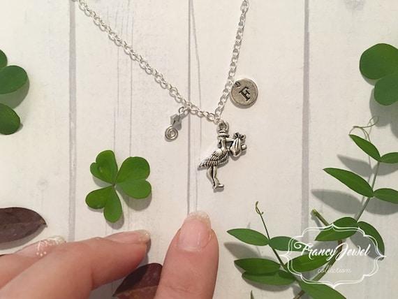 Baptism gift, Christening, Stork charm, baptism jewelry, custom initials, premaman jewelry, new mom gift, Swarovski necklace, made in Italy