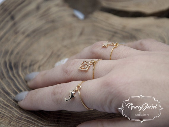 Valentine's gift, star, diamond ring, dolphin ring, simple ring, handmade ring, gold plated, made in Italy, not tarnish jewel, birthday gift