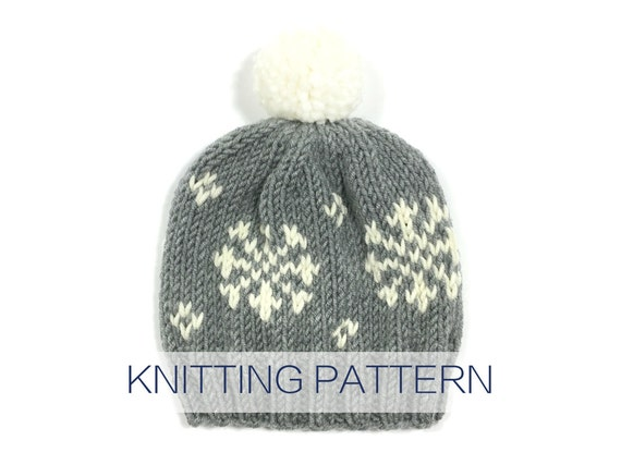 PATTERN for knit winter fair isle pattern pompom hat beanie toque ...