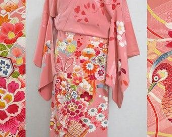 second hand kimono, Japanese vintage semi formal kimono, tsukesage, silk, flower and pheasant