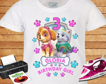 Any Name And Age On T Shirt Birthday Girl PAW Patrol Skye Everest