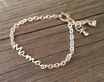 Chain breast bracelet with silver bath, chain bracelet for mom, Mother's Day bracelet