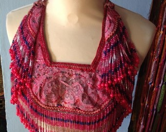 Gypsy Vintage tribal neck piece with embroidery and beaded