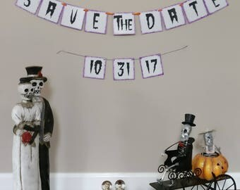 Halloween Wedding, Save the date, Halloween Wedding Banner, Halloween Save the Date, Save the date banner, Save the date sign, Sugar Skull