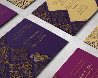 His And Her Indian Wedding Invitations Coordinated Set   Gold Wedding Invite,  Plum Wedding Invite
