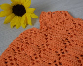 Crochet baby tunic / girl summer dress / orange baby clothes