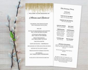 Faux Gold Wedding Program Templates Printable, DIY Printable Wedding Program Template, Wedding Program Templates