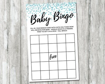 Blue Confetti Baby Shower Bingo, Baby Shower Games, Printable Bingo Cards, Baby Shower Activities, Baby Bingo Printable, Boy Baby Shower
