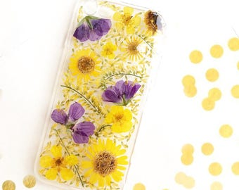 iPhone 6 case yellow pressed flowers clear silicon iphone Daisy iPhone SE case Sassy phone case pretty protector flat flowers phone case
