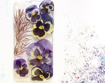 Flower iPhone case * real pressed flower phone case | iphone 7 plus leaf cover | Blue pansy | Birthday gift
