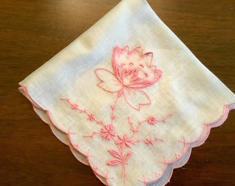 Vintage embroidered handkerchief in pink and white.