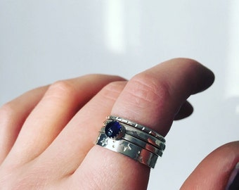 Iolite sterling silver ring//stackable ring