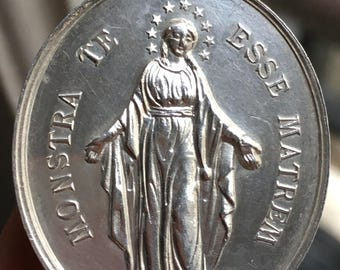 Virgin Mary Show Yourself As A Mother For All French Sterling Silver Hallmarked Antique Religious Medal Dated 1878