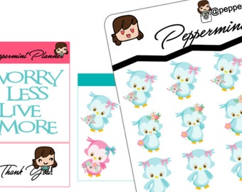 Spring Owls, Planner stickers, {#122}