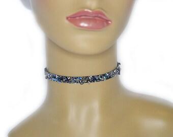 Halsband für Frauen, Blau Acryl Steine Choker, dünner Choker, Perlen Choker, einfaches Halsband, Choker Halskette, Boho Choker Halskette
