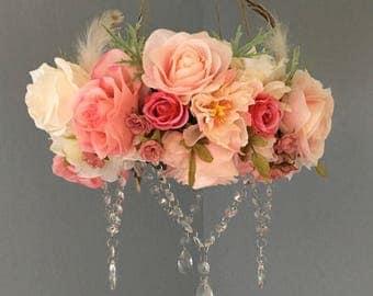 Flower Mobile, Boho Mobile, Floral Mobile, Flower Chandelier, Floral Chandelier, Crystal Mobile, Girl Nursery, Newborn Photography Prop