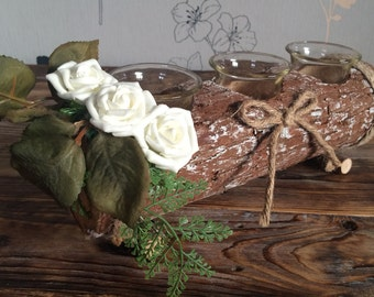 Rustic tea light holder top table decoration