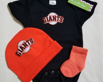 baby boy san francisco giants outfit with hat-sf giants romper for baby-baby boy sf giants outfit-san francisco giants gift for baby