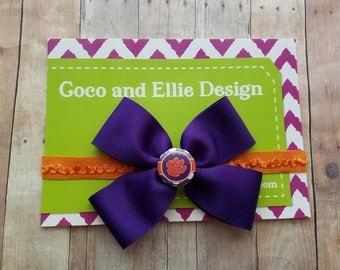 Clemson  bow headband-baby girl clemson bow headband-clemson university bow headband/clemson baby gift/clemson for girl