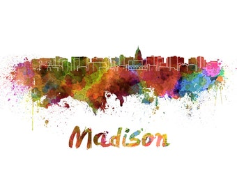 Madison skyline watercolor canvas,  Madison Canvas, Madison wall art, Madison Canvas Wall Art, Madison wall art canvas,Madison Wisconsin