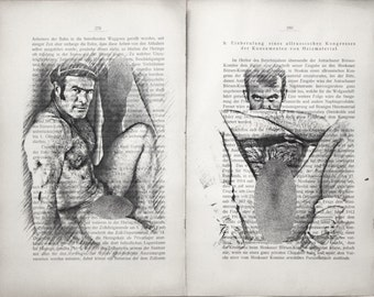 Gay erotic poster  / vintage mens nude body  / 2 pages printing Antique 1914  German book  decor interior picture ART erotic