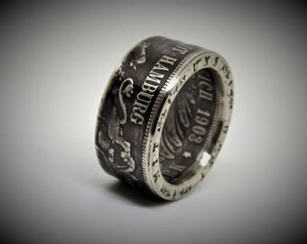 "Coin ring 5 mark Empire ""Free and Harbour City Hamburg"". 900 silver"