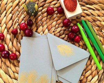 Embossed Palm Leaf Stationery, Gold Embossed, Thank You Notes, Note Cards, Handmade