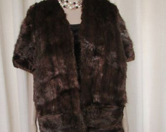"vintage beautiful rétro  natural dark brown muskrat  fur stole/rétro  jolie étole de rat musqué naturel large  68"" X 15"""