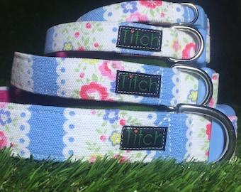 Dog collar: Cath Kidston fabric dog collar (pink blue fabric, pretty puppy collar, floral dog collar, vintage style dog collar)