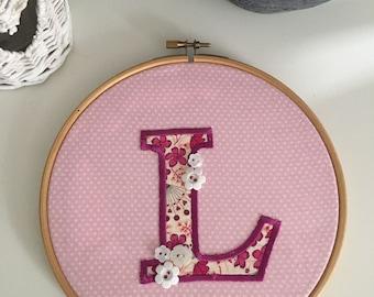 Letter Hoop Art - 7 inch Hoop