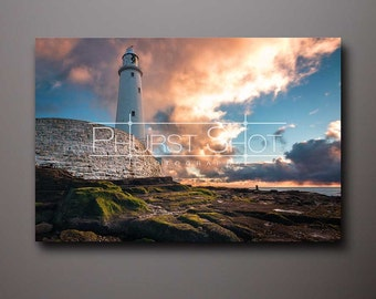 Seascape canvas wrap, St Marys Lighthouse, Fine art photography print, Sunrise sunset, Storm Clouds, lighthouse photo, stormscape image