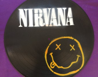 Nirvana Spray Painted Record Clock