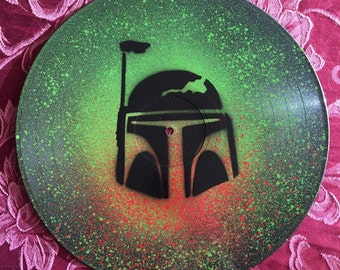 Boba Fett Star Wars Spray Painted Vinyl Record Clock