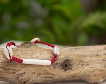 Waxed Sea Shell Bracelet