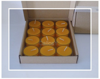 12x Pure Organic Australian Beeswax Tealight Candles (Tealights)