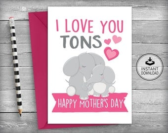 Mothers Day Card | Mothers Day Cards | Card For Mom | Mothers Day Gift | Mother's Day Card | Printable Instant Download - I Love You Mom