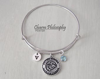Military Bracelet - Adjustable Bangle Bracelet - US Marine Corps, Army, Air Force, Navy Coins  - Personalized Initial and Birthstone