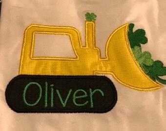 Personalized truck shramrock shirt, boys St Patrick's Day shirt, bulldozer clovers, 4 leaf clocer lucky shirt