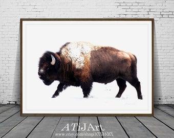 Buffalo Print, Bison print, wild animal Print, Nursery Animal print, Wild Animal Poster, Modern Minimalist , snow print, kids room decor