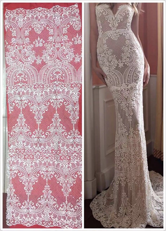 Newest fashion ivory wedding dress lace fabric lace for Wedding dress fabric store