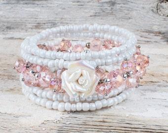 Bracelet 5 rows bracelet, Christmas, Christmas bracelet, chic, elegant, glass beads, glass beads, memory wire, wedding, wedding, white, pink