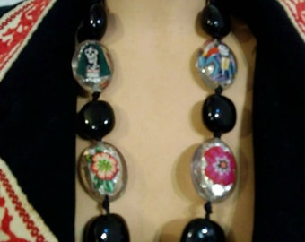 Day of the dead Catrina reversible chunky necklace