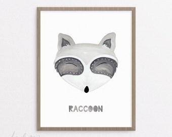 Raccoon Nursery Print - Raccoon Print - Nursery Art - Printable - Nursery Raccoon Art - Kids Raccoon Art - Baby Gift - Instant Download 8x10