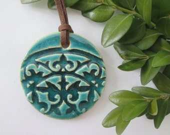 ceramic pendant necklace, ethnic ceramic necklace, pottery handmade, blue pendant, bohemian pendant, ceramic jewelry, gift for girl