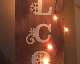 Handmade country wooden sign for Winter