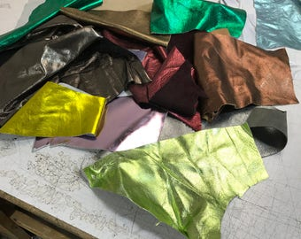 Metallic Leather Scraps and Trimmings - Metallic scrap ONLY: various colors and textures. All high quality metallic (USPS padded envelope)