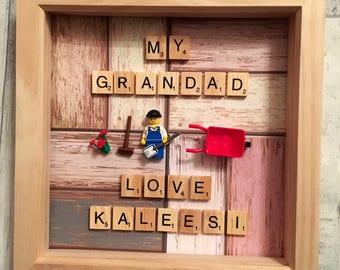 Gardening frame, gardening lego, Father's Day gift, Grandad frame, grandpa frame, dad frame, scrabble frame,